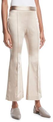 Rosetta Getty Flared-Leg Duchess Satin Cropped Pants