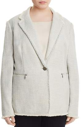 Lafayette 148 New York Plus Lyndon Frayed Tweed Blazer