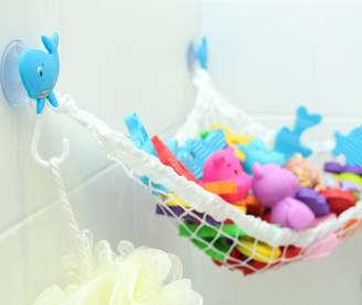 MiniOwls Bathtub Toy Storage Hammock - with 3 Whale Suction Cups & FREE Toothbrush Holder - 3% donation to Autism Foundation.