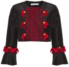 Oscar de la Renta Cropped Embellished Silk-Faille Jacket