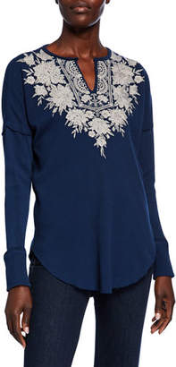 Johnny Was Plus Size Christina Embroidered Thermal V-Neck Long-Sleeve Top