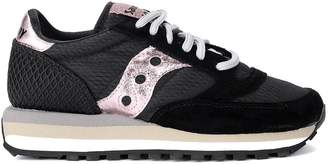 Saucony Jazz Triple Black And Pink Suede And Fabric Sneaker