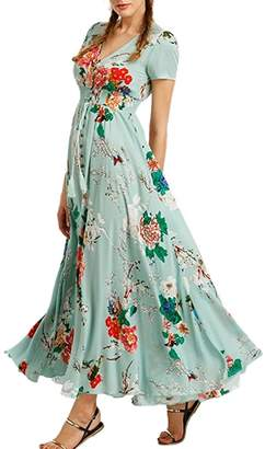 iBaste Women Floral Maxi Dress, Sexy V Neck Boho Vacation Beach Long Slit Dresses