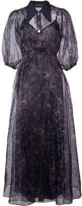 Jill Stuart sheer printed puff sleeve dress