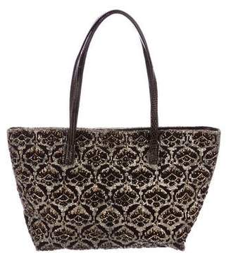 Fendi Lizard-Trimmed Beaded Tote