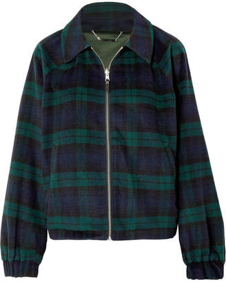 Kith Paulina Reversible Checked Wool-blend And Satin Jacket