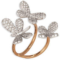 Fratelli Staurino Nature 18k Diamond Butterfly & Dragonfly Ring