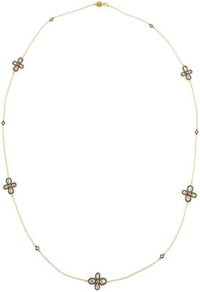 Freida Rothman Long Pave Clover Station Wrap Necklace