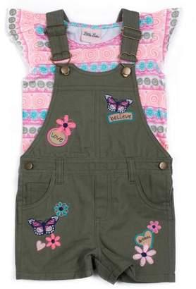 Little Lass Little Girls' 4-6X Ruffle Sleeve Top and Butterfly Print Shortall 2-Piece Set