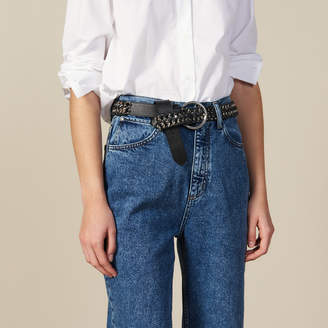 Sandro Wide Leather And Chain Belt