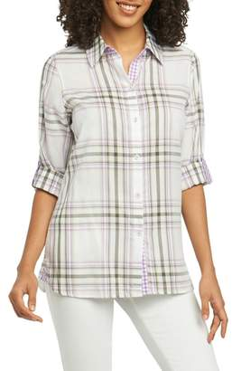 Foxcroft Tamara Herringbone Plaid Shirt