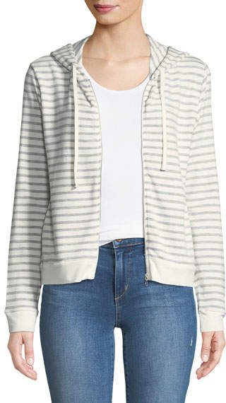 Striped French Terry Zip-Front Hoodie