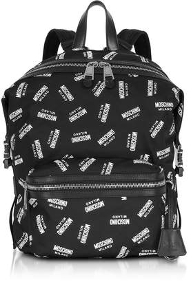 Moschino Allover Signature Printed Black Backpack