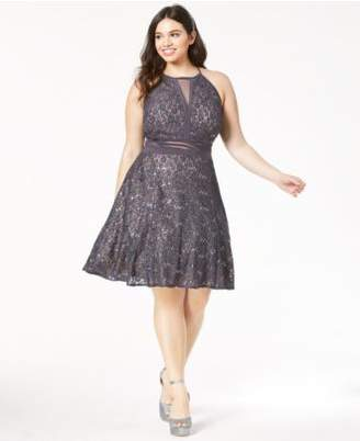 Morgan & Company Trendy Plus Size Lace Fit & Flare Dress