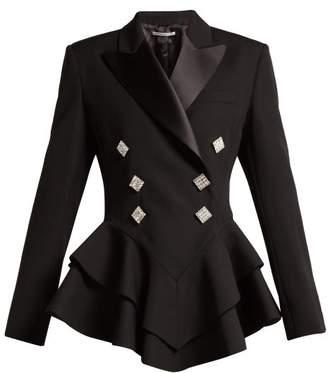 Alessandra Rich - Crystal Embellished Wool Tuxedo Jacket - Womens - Black