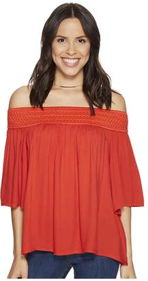 BB Dakota Lin Rayon Crepe Off Shoulder Top with Novelty Elastic Trim Women's Clothing