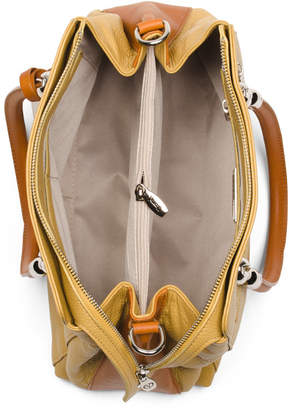 Made In Italy Leather Dual Compartment Satchel