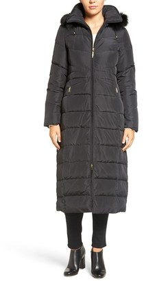 Women's Ellen Tracy Hooded Down Maxi Coat With Genuine Fox Fur Trim $300 thestylecure.com