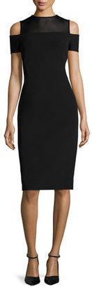 Lafayette 148 New York Cold-Shoulder Mesh-Yoke Sheath Dress, Black $648 thestylecure.com