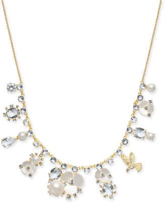 "Kate Spade Gold-Tone Crystal, Imitation Pearl, Flower & Bird Collar Necklace, 16"" + 3"" extender"