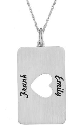 JCPenney FINE JEWELRY Personalized 10K White Gold Rectangular Heart Cutout Pendant Necklace