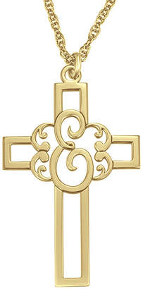 FINE JEWELRY Personalized Initial Cutout Cross Pendant Necklace