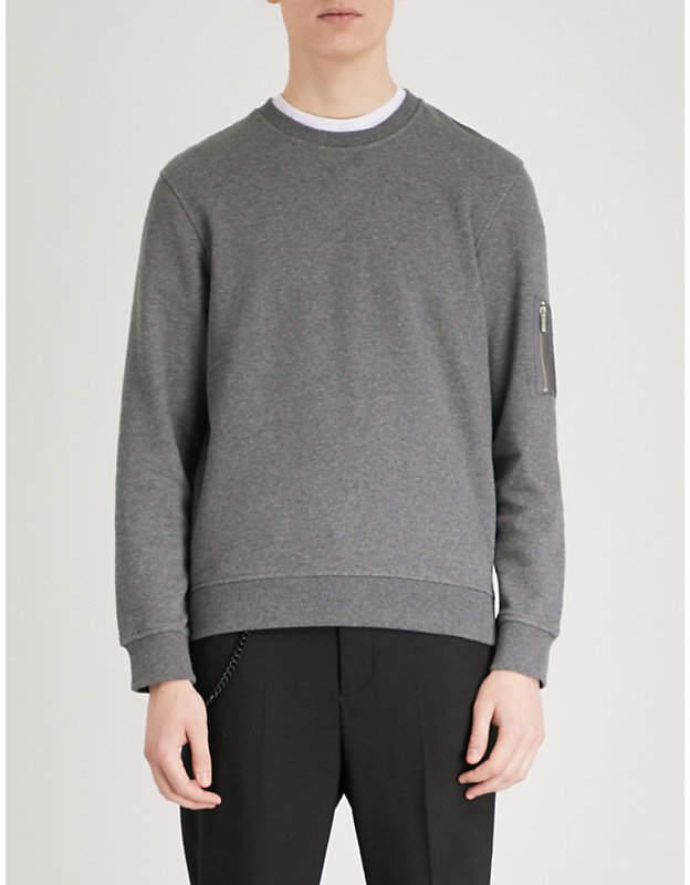 Zip-up pocket cotton-jersey sweatshirt