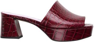 Ganni Crocodile-Embossed Leather Mules
