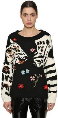 Sonia Rykiel Leopard & Zebra Wool Knit Sweater