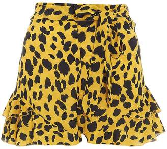 Quiz Yellow & Black Leopard Print Shorts