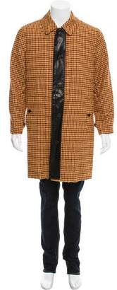 Marc Jacobs Leather-Trimmed Houndstooth Coat