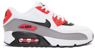 Nike White and Red Air Max 90 Sneakers