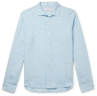Orlebar Brown Giles Cutaway-Collar Linen Shirt