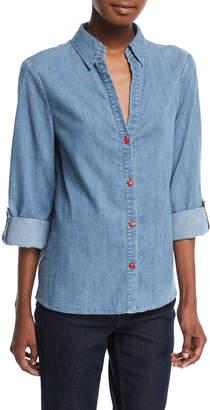 Alice + Olivia Elosie Button-Front Denim Shirt w/ Graphic Message