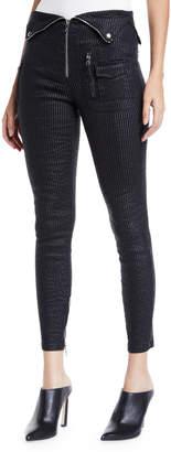 RtA Diavolina Metallic Pinstripe Pants with Folded Waistband
