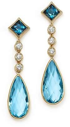Olivia B 14K Yellow Gold London Blue Topaz, Swiss Blue Topaz & Diamond Drop Earrings - 100% Exclusive