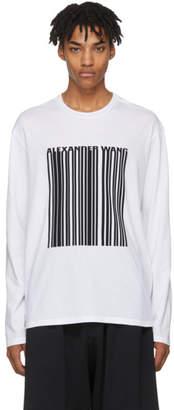 Alexander Wang White Long Sleeve Barcode T-Shirt