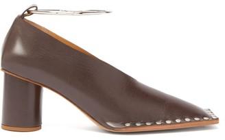 Jil Sander Studded Square Toe Leather Pumps - Womens - Dark Brown