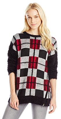 Buffalo David Bitton Women's Beplaid Fuzzy Plaid Pullover Sweater $79.99 thestylecure.com
