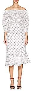 Saloni Women's Grace Polka Dot Silk Midi-Dress-White