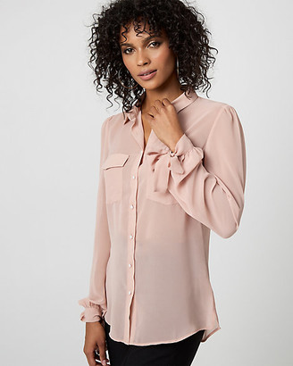 Le Château Pearl Embellished Button-Front Blouse