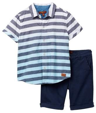 7 For All Mankind Short Sleeve Button Up & Chino Shorts Set (Toddler Boys)
