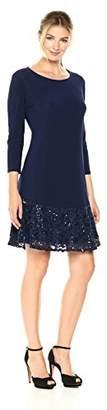 Tiana B Women's Knit with Sequin Flounce Dress