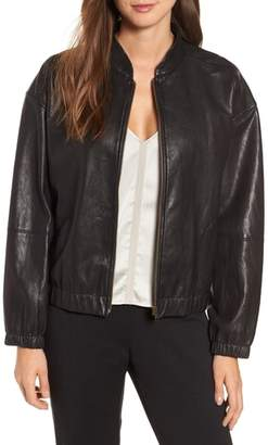 Eileen Fisher Leather Bomber Jacket