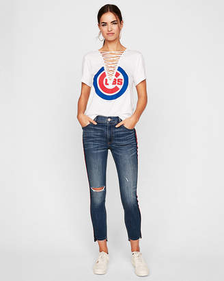 Express Chicago Cubs Lace-Up Tee