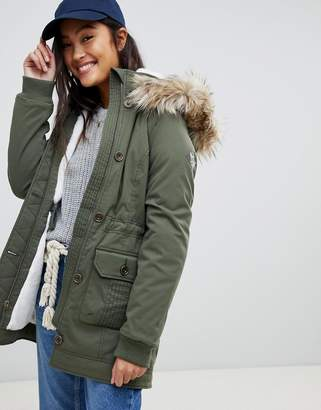Hollister teddy lined parka jacket with faux fur hood