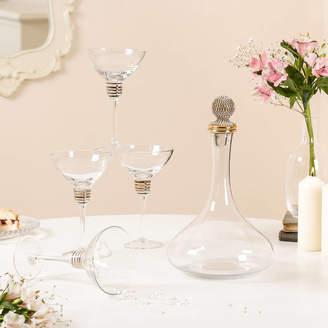 Dibor Art Deco Gold Martini Glasses And Decanter Gift Set