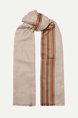 Loro Piana The Suitcase Striped Silk And Cashmere-blend Scarf - Camel