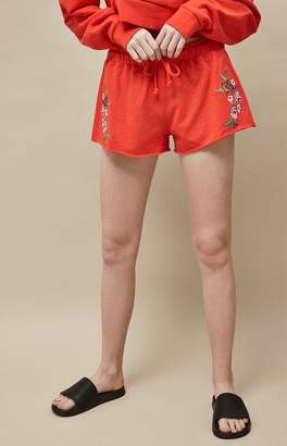 LA Hearts Red Embroidered Runner Shorts