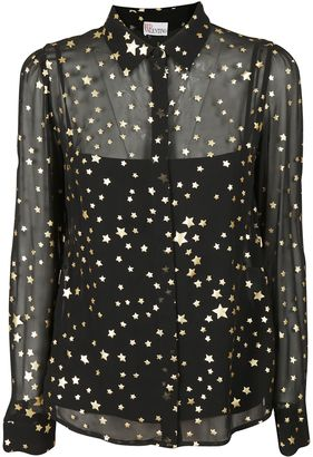 RED Valentino Layered Sheer Gold Foil Star Shirt